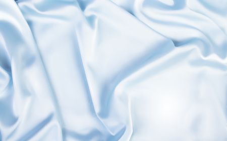 Gorgeous satin background, top view of blue fabric in 3d illustration
