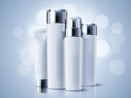 光青化粧品容器、空ボトル モックアップの 3 d 図で背景のボケ味を設定  イラスト・ベクター素材