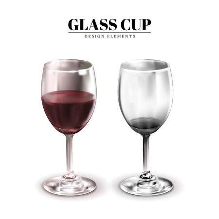 Glass cup mockup, one contains wine the other dont, 3d illustration on white background
