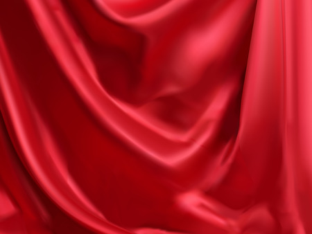 Classic red satin background, droop style for design uses in 3d illustration