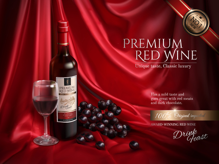 Premium wine ads, delicious wine with grape and wine glass on red satin background in 3d illustration Ilustração
