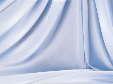 Light blue satin, beautiful droop style fabric background for design uses in 3d illustration Illustration