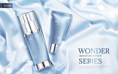 水分修復シリーズ広告、絹のようなファブリックと 3 d 図、平面図にきらびやかな要素光青化粧品スキンケア