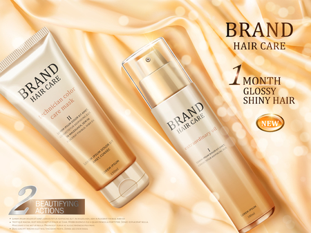 Hair care ads, top view of luxury hair repair product on glossy light yellow satin with some particles in 3d illustration Ilustração