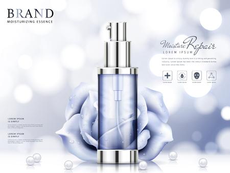 Anuncios de la esencia de la humedad, producto de cuidado de la piel cosmético púrpura claro con rosas y perlas aisladas sobre fondo bokeh en ilustración 3d Ilustración de vector