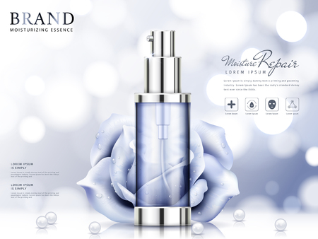 Moisture essence ads, light purple cosmetic skincare product with roses and pearls isolated on bokeh background in 3d illustration
