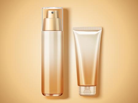 トップ ビュー化粧品モックアップ、3 d の図の設定空のコンテナー  イラスト・ベクター素材