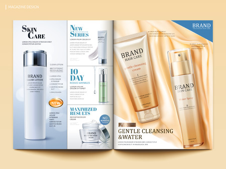 Cosmetic magazine template, skincare and hair care product on silky satin in 3d illustration