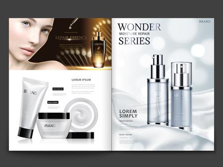 Projekt magazynu kosmetycznego. Ilustracje wektorowe