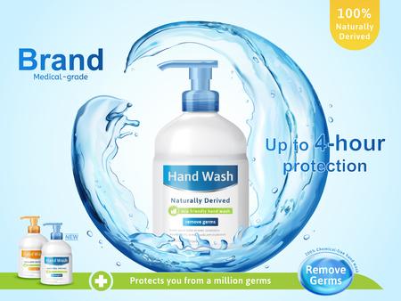 Annonces de lavage des mains de qualité médicale, coulant liquide clair éclaboussant autour de la bouteille de distributeur