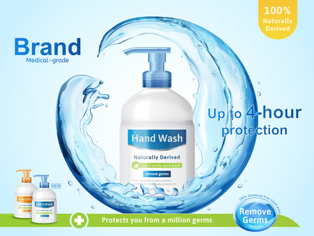 Medical grade hand wash ads, flowing clear liquid splashing around the dispenser bottle in 3d illustration