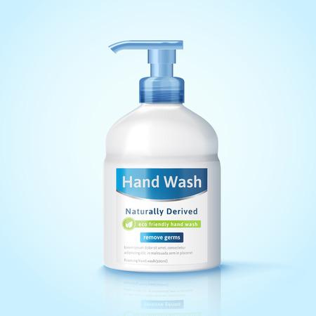 手洗いディスペンサー ボトル モックアップ、3 d イラストレーションで衛生製品パッケージ デザイン