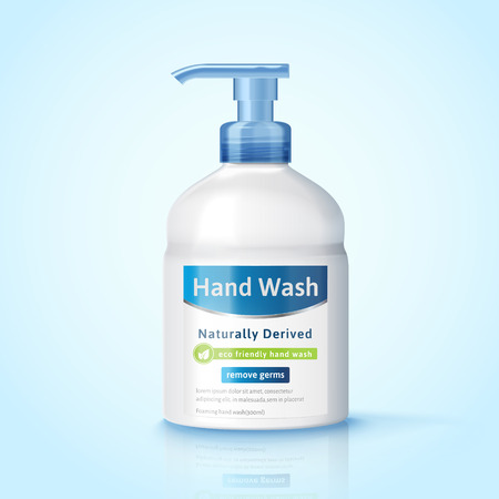 Hand wash dispenser bottle mockup, hygiene product package design in 3d illustration
