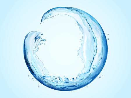 Round sphere made of flowing liquid, transparent liquid splashes for design uses in 3d illustration Vectores