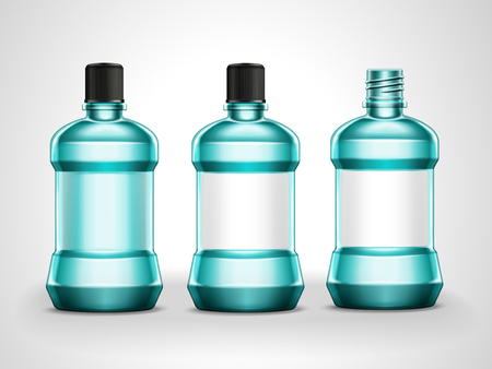 Mouth rinse mockup set, blank hygiene container collection in 3d illustration Illustration