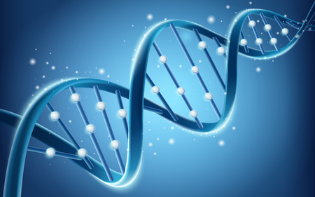 DNA structure design, glitter blue helical structure in 3d illustration isolated on blue background Ilustração