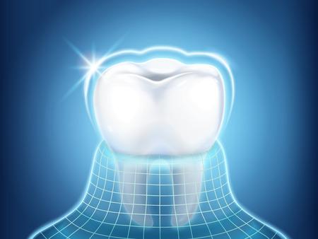 Elemento de diseño relacionado dental, diente protegido por capa invisible con luz de brillo, ilustración 3d