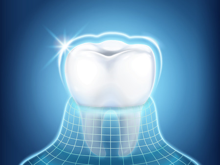 Dental related design element, tooth protected by invisible coat with glitter light, 3d illustration