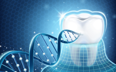 Dental related design element, tooth protected by invisible coat and dna structure in 3d illustration Illustration