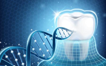 Zahnmedizinisches in Verbindung stehendes Gestaltungselement, Zahn geschützt durch unsichtbare Mantel- und DNA-Struktur in der Illustration 3d Vektorgrafik
