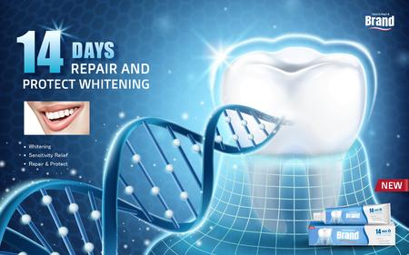 Mondgezondheid advertenties, tandpasta product advertentie met tand beschermd door onzichtbare vacht met glitter dna-structuur in 3D-afbeelding