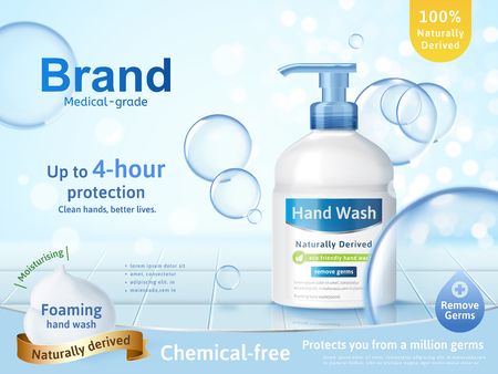 Foaming hand wash ads, dispenser bottle with transparent bubbles and glitter bokeh background in 3d illustration Çizim