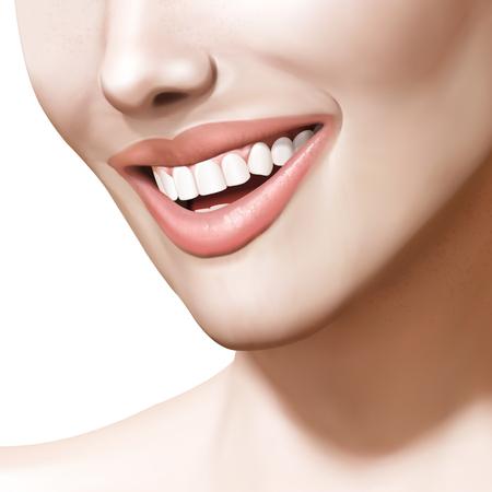 화장품 또는 구강 건강 모델, 3d 그림에서 하얀 치아와 이빨 미소 여자 일러스트