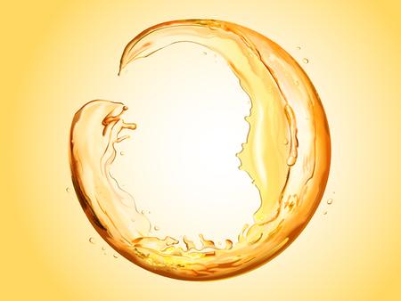 液体流れる製球、ラウンドの透明な液体は設計用 3 d 図では、オレンジ色のトーンではね