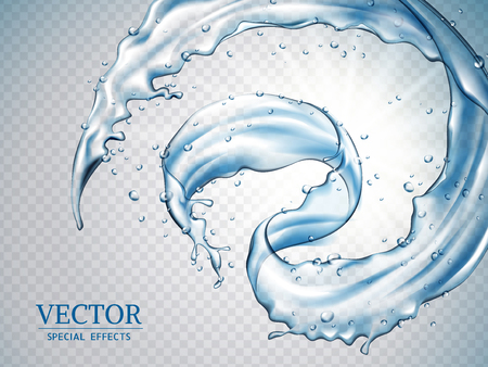 Splashing water effects, dynamic water splatters isolated on transparent background in 3d illustration
