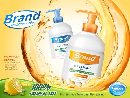 의료 학년 손 세척 광고, 3d 일러스트, 레몬 향수 디스펜서 병 주위 튀는 명확한 액체를 흐르는