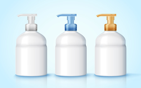 3 d イラストレーションで手洗いディスペンサー ボトル モックアップ、3 つの空白のディスペンサー ボトル セットします。  イラスト・ベクター素材