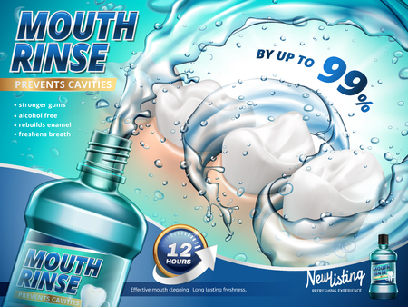 Mouth rinse ads, gargle your mouth with splashing mouth rinse in 3d illustration
