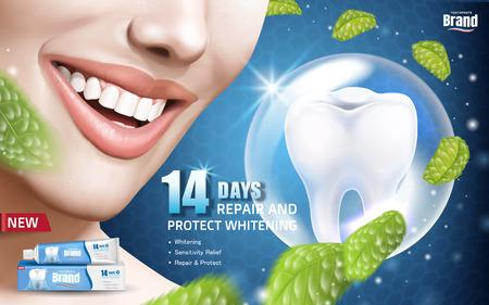 민트 미백 치약 광고, 이빨 미소 짓는 여자와 반짝이 치아, 3D 그림 부동 민트 잎 일러스트