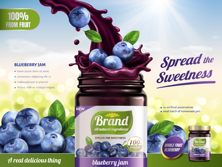 Blueberry jam advertisement illustration. Vettoriali