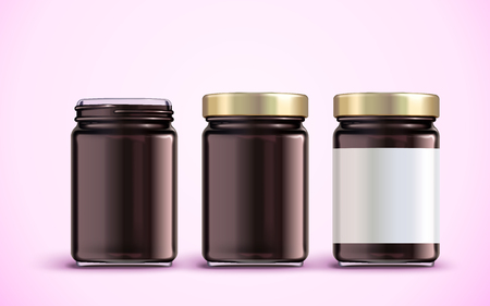 Jam jar package design illustration. 向量圖像