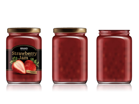 Strawberry jam package design illustration. Vettoriali
