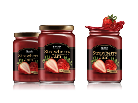Strawberry jam package design illustration. Banco de Imagens - 88759537