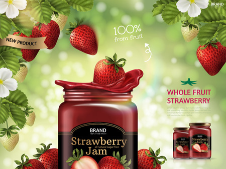 Strawberry jam advertisement illustration.