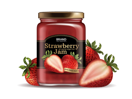 strawberry jam package conception de conception . illustration