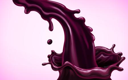 Stromende paarse vloeistof illustratie. Stock Illustratie