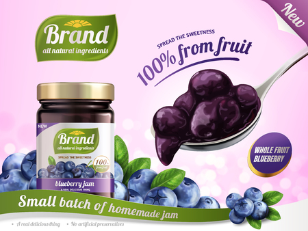 Blueberry jam advertisement illustration. Stock Illustratie