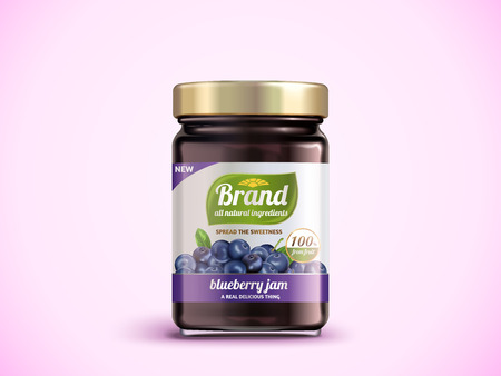 Blueberry jam package design illustration.