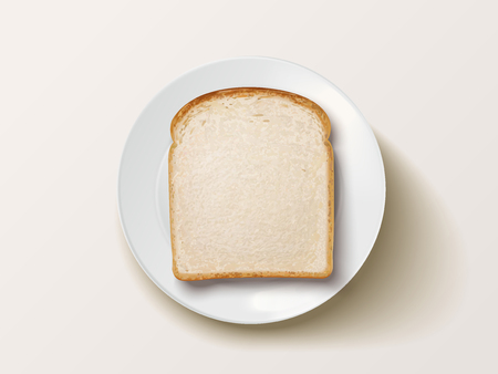 Top view of sliced bread, white toast on plate. Illustration