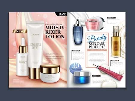 Skincare magazine template, moisturizing set isolated on soft satin background in 3d illustration