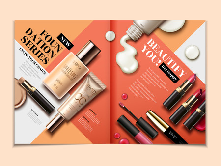 Cosmetic magazine template, top view of lipsticks and foundations isolated on orange tone geometric background in 3d illustration