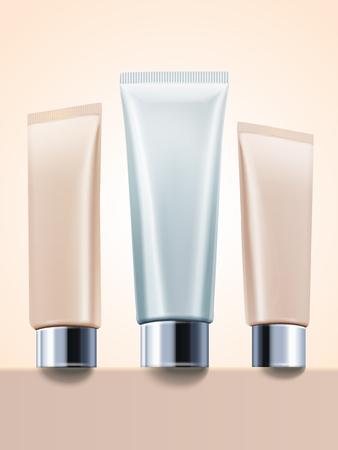 Sahnerohrmodell, leere kosmetische Behälter stellte in Illustration 3d ein Standard-Bild - 89410582