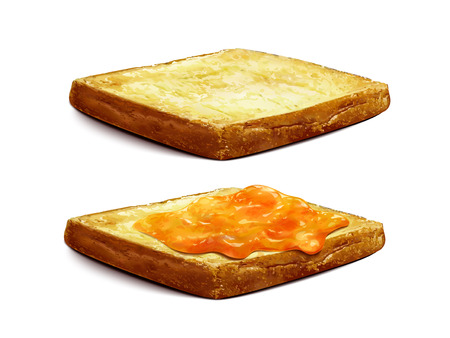 トーストに広がるアプリコットジャム、クローズアップは、3D イラストレーションの白い背景に孤立したゼリージャムを見てください