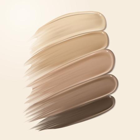 ファンデーションクリーミーな質感、3d イラストで背景に異なる肌の色調のスミア