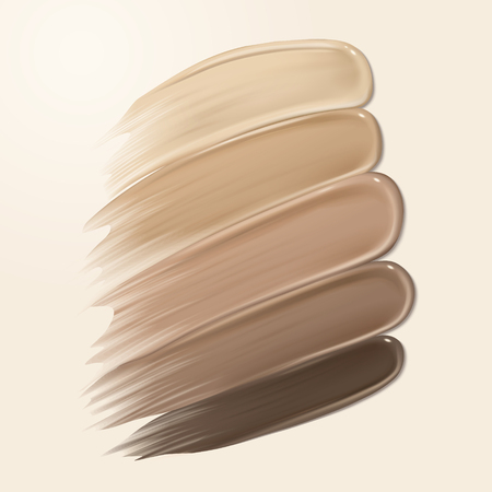 Foundation creamy texture, different skin tone smear on the background in 3d illustration