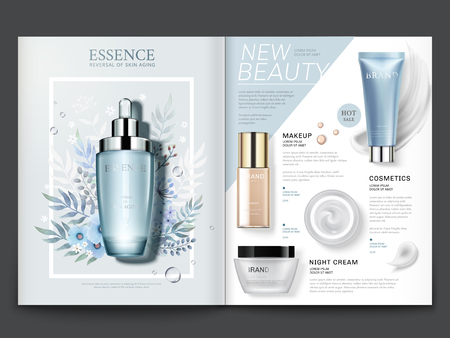 Cosmetic magazine template, elegant essence and skincare products with watercolor floral design in 3d illustration